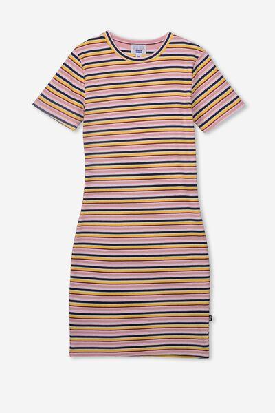 Rib T-Shirt Dress, PINK MULTI STRIPE