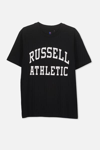 Russell Short Sleeve Tee, LCN RUS/BLACK/ARCH LOGO