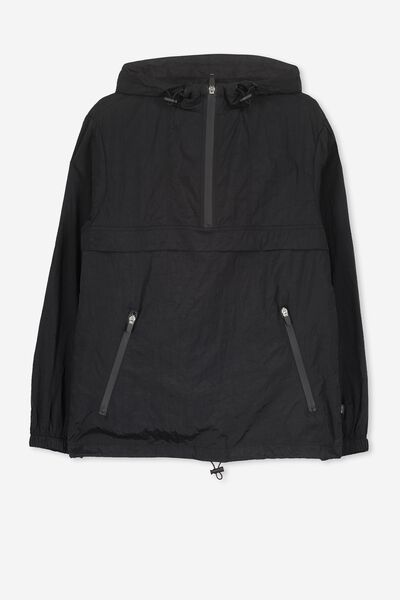 Unisex Windbreaker Jacket, BLACK/PRINT/TAPE