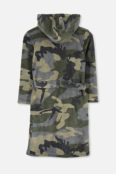 Free Hooded Gown, MOSS GREY/CAMO