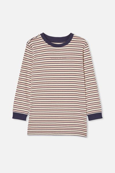 Free Boys Long Sleeve Tee, DARK VANILLA / INDIGO STRIPE