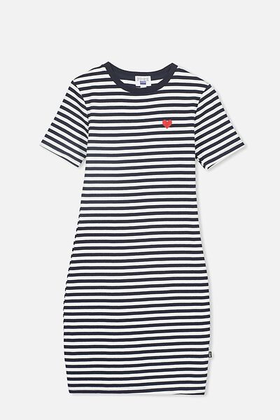 Rib T-Shirt Dress, NAVY STRIPE/HEART