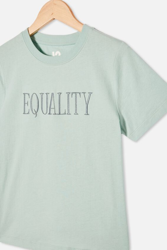 Girls Classic Ss Tee, DUCK EGG/EQUALITY