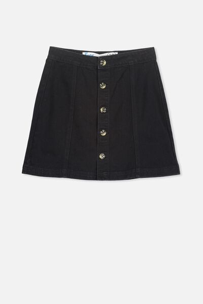 Button Denim Skirt, WASHED BLACK