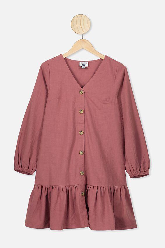 Leila Long Sleeve Dress, HENNA