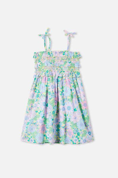 Megan Sleeveless Dress, LEMON DROP RETRO FLORAL