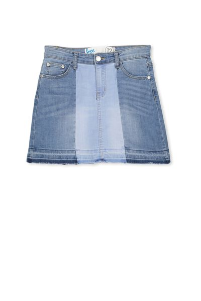 Shadow Denim Skirt, INDIGO SPLICE