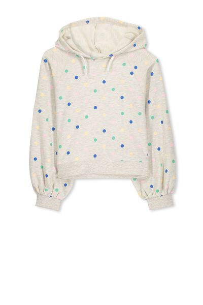 Laura Raglan Hooded Fleece, OATMEAL MARLE/MULTI SPOT
