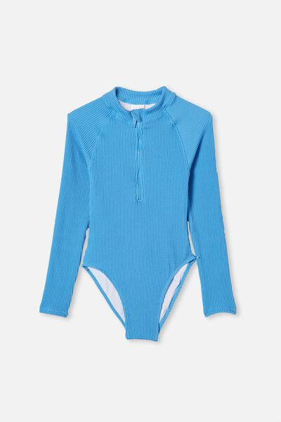 Lindsay Rib Long Sleeve One Piece, BLUE BIRD