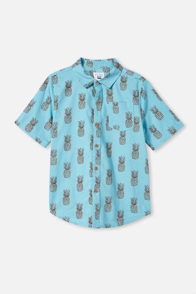 Boys Resort Short Sleeve Shirt, SEMOLINA/VERTICAL STRIPE