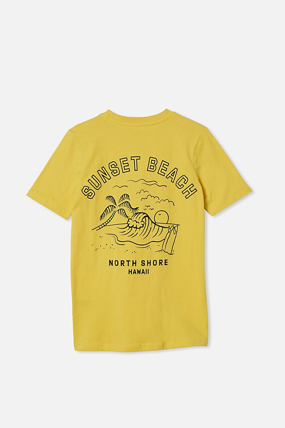Free Boys Skater Short Sleeve Tee, SUNSHINE YELLOW/SUNSET BEACH