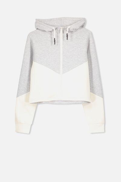 Zip Thru Hooded Fleece, SOFT GREY MARLE/DK VANILLA