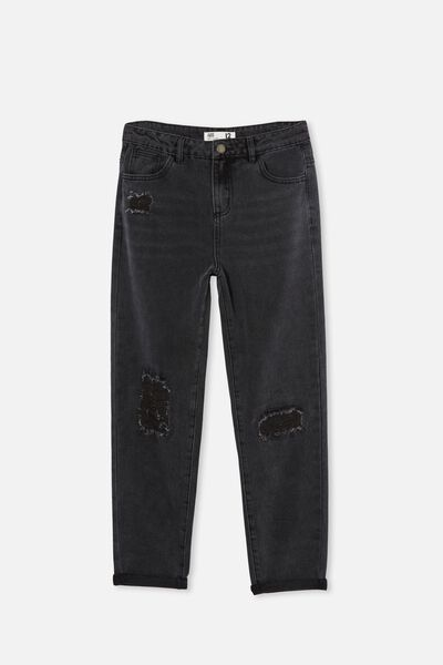 Indiana Slouch Jean, BLACK/RIP AND REPAIR