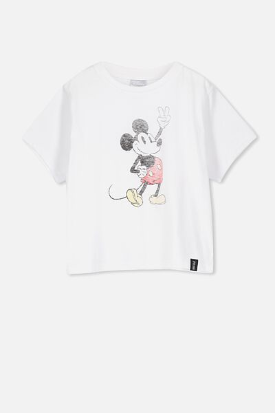 Girls License Boxy Tee, LCN DIS WHITE/MICKEY