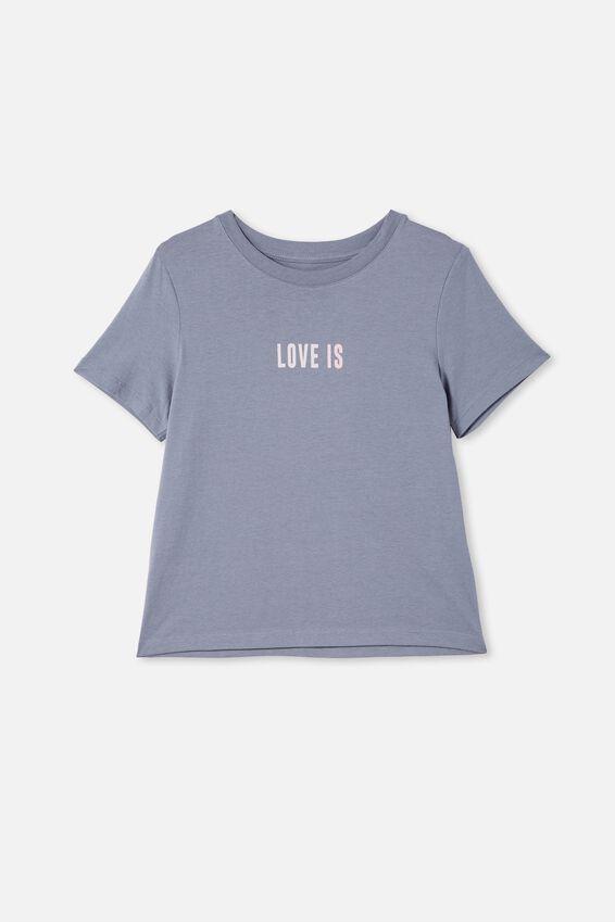 Girls Classic Ss Tee, STEEL/LOVE IS LOUDER