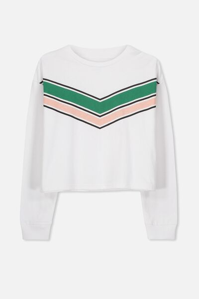 Girls Drop Shoulder Ls Tee, WHITE/CHEVRON STRIPE