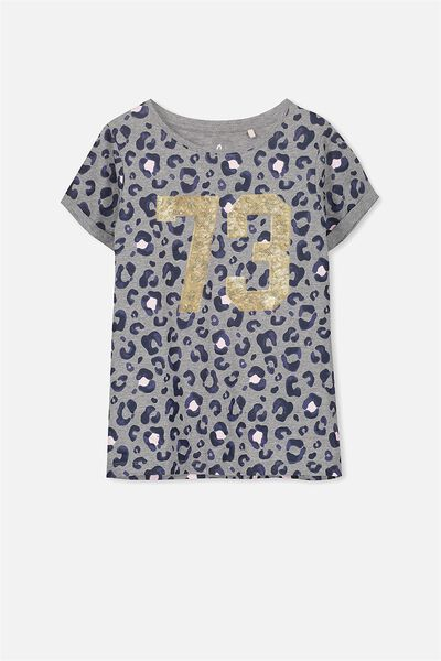 Gracie Ss Tee, MID GREY MARLE/73 LEOPARD