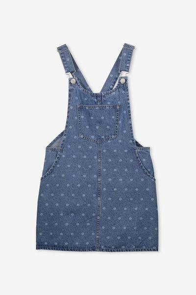 Denim Overall Dress, INDIGO SPOT