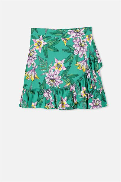 Winnie Wrap Skirt, GREEN FLORAL