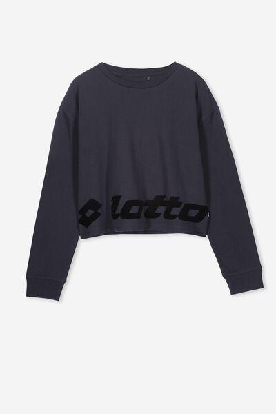 Girls Lotto Long Sleeve Tee, LCN LOT/BLACK/SHADOW