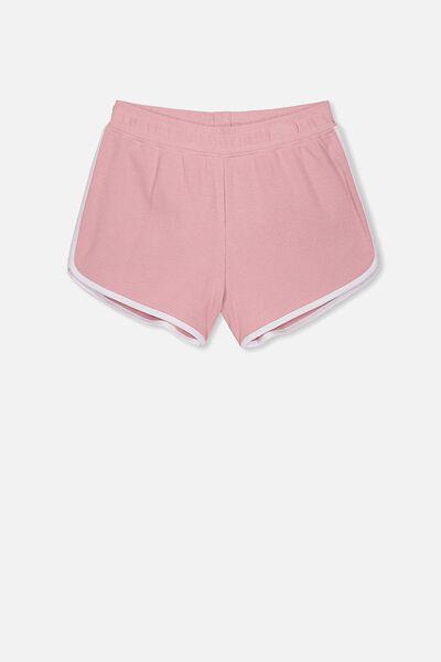 Girls Knit Jogger Short, DUSTY ROSE/WHITE BIND