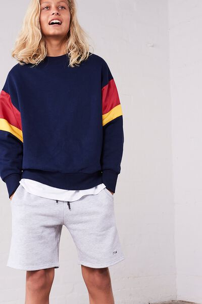 Crew Neck Jumper, NAVY/SPLICE