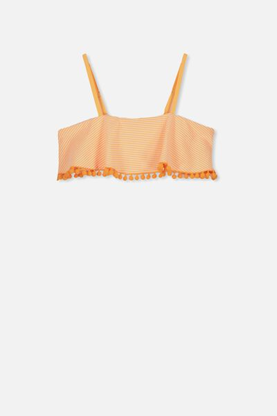 Ruffle Bandeau Bikini Top, ORANGE STRIPE POM POM