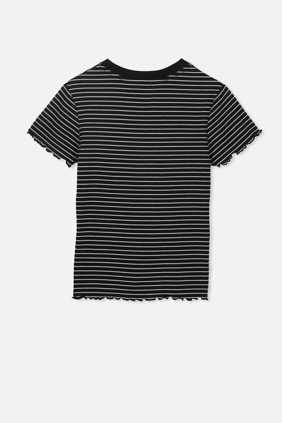 Jayde Ribbed Short Sleeve Top, BLACK/VANILLA STRIPE