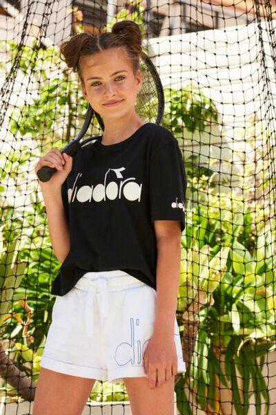 Diadora Girls Boxy Short Sleeve Tee, BLACK/DIADORA