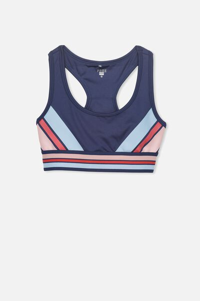 Racer Back Crop Top, NAVY CHEVRON
