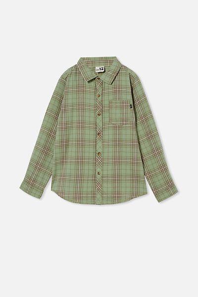 Rocky Long Sleeve Shirt, GREEN PLAID CHECK
