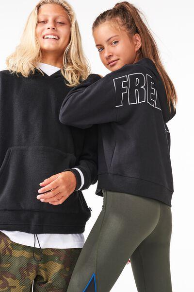 Boxy Hoodie, BLACK/FREE UNITE