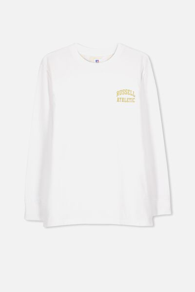 Russell Long Sleeve Tee, LCN RUS/WHITE/ARCH LOGO