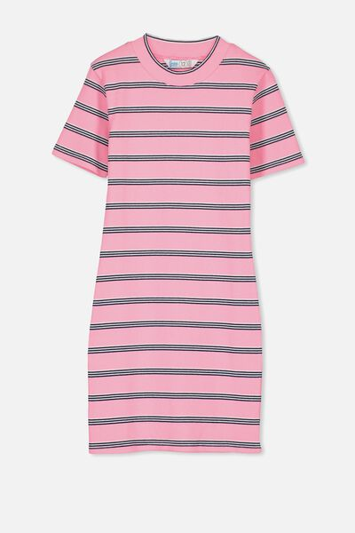 Asta Knit Rib Dress, PERRY PINK/OBRIEN BLUE STRIPE
