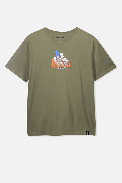 Boys License Short Sleeve Tee, LCN FOX LIGHT OLIVE/SKELETON SIMPSONS