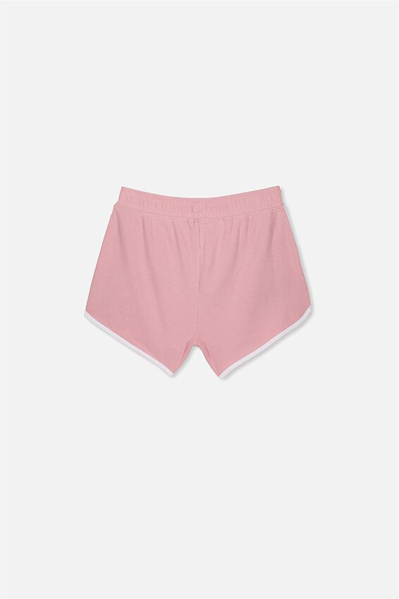 Girls Knit Jogger Short, DUSTY ROSE/WHITE BIND