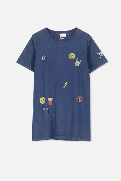 Louis Licence Tee, WASHED NAVY/EMOJI BADGES