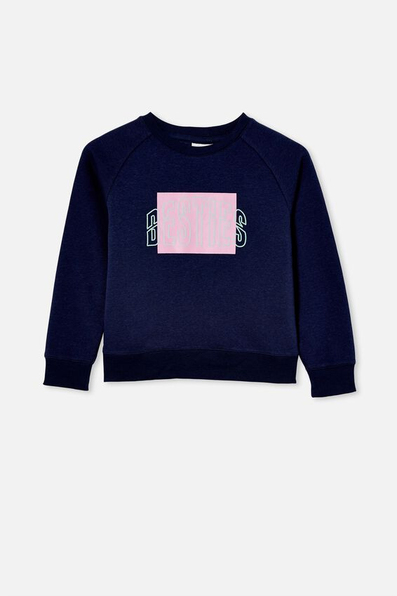 Boxy Crew Neck Jumper, INDIGO/ BESTIES