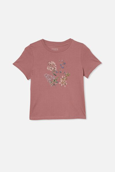 Girls Classic Ss Tee, DUSTY BERRY/BOTANICALS