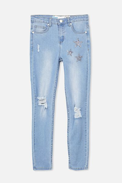 Sequin Star Jean, BRIGHT MID INDIGO/STAR