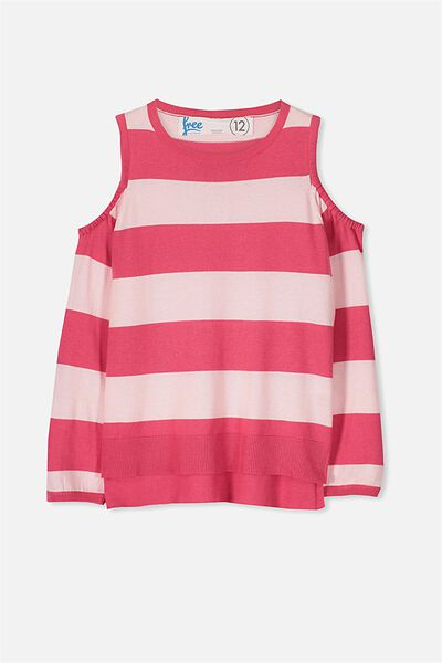 Spring Cut Out Shoulder Knit, CRUSHED RASPBERRY/PINK STRIPE