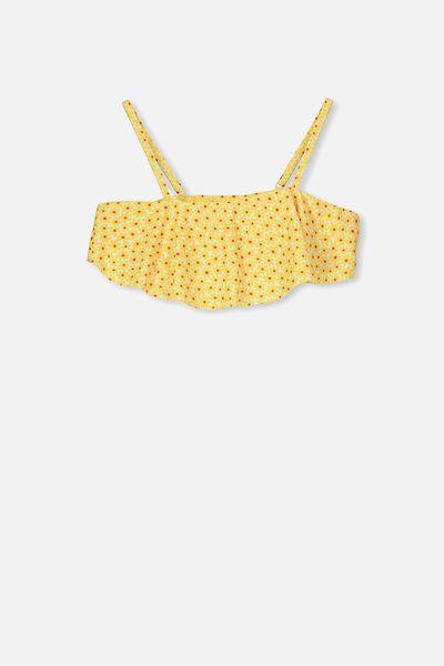 Frill Bikini Top, WHITE/YELLOW DAISY POP