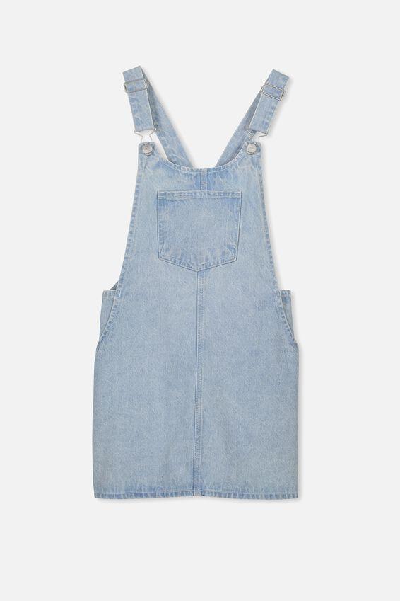 Denim Overall Dress, FADED BLUE