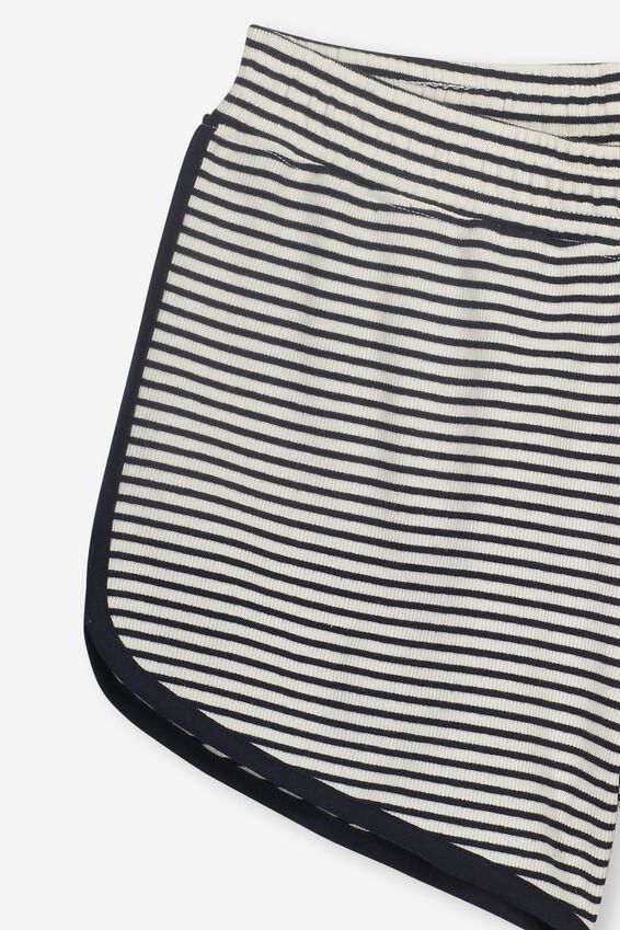Girls Knit Jogger Short, DK VANILLA/NAVY STRIPE