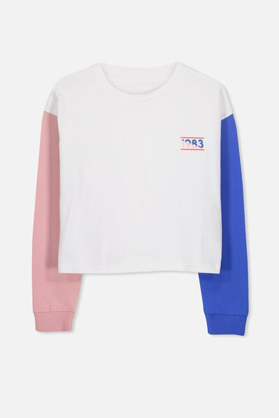 Girls Drop Shoulder Ls Tee, WHITE/BLOCK SLEEVE 1983