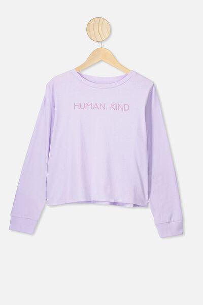 Girls Long Sleeve Tee, VINTAGE LILAC/HUMAN KIND