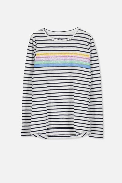 Charlie Long Sleeve Tee, OBRIEN BLUE STRIPE/SEQUINS STRIPES