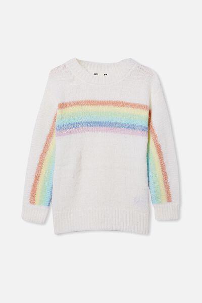 Rani Knit Jumper, CREAM/RAINBOW STRIPE