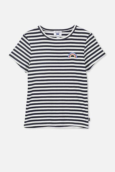 Jayde Ribbed Short Sleeve Top, WHITE/FREE NAVY STRIPE RAINBOW