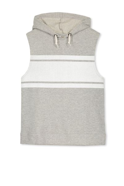 James Hooded Sleeveless Fleece, GREY MARLE/TRIPLE STRIPE